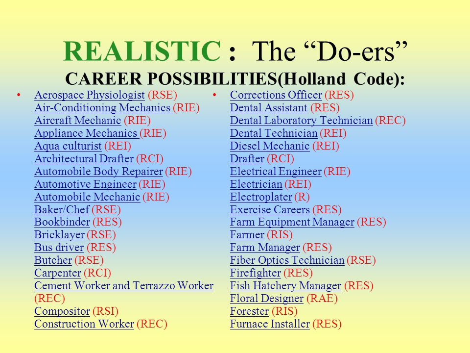 REALISTIC : The Do-ers CAREER POSSIBILITIES(Holland Code):