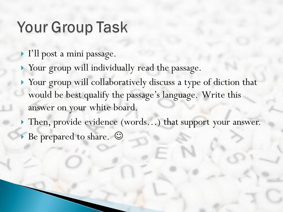 Your Group Task I'll post a mini passage.