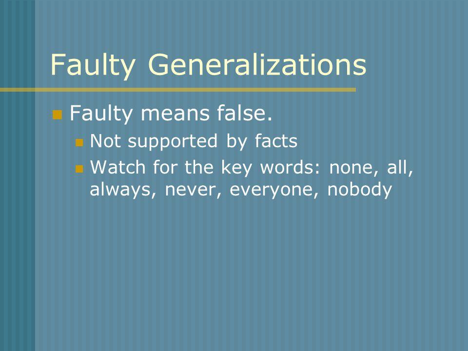 Faulty Generalizations