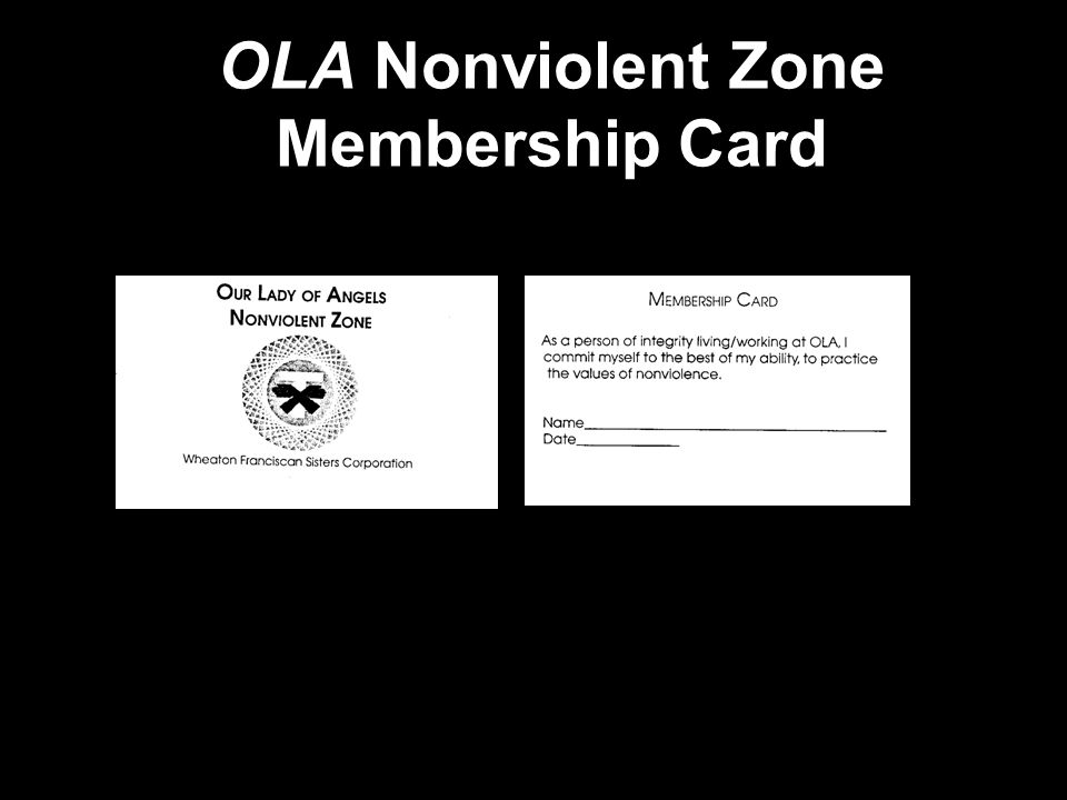OLA Nonviolent Zone Membership Card