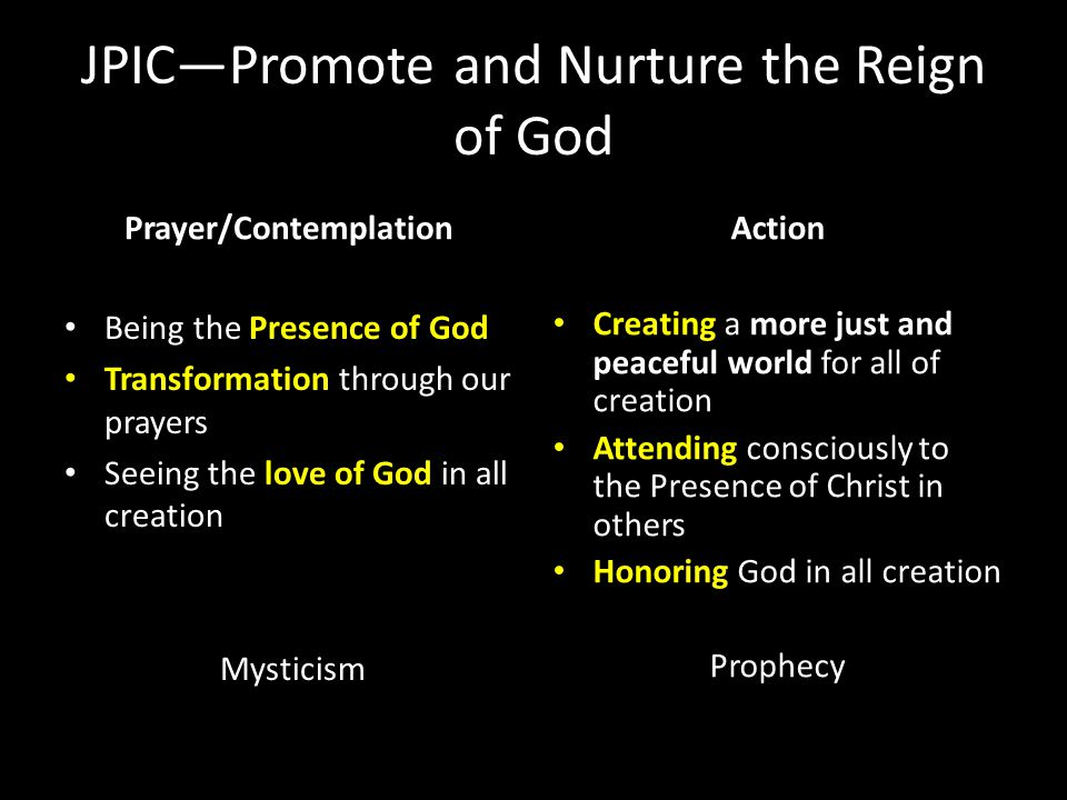 JPIC—Promote and Nurture the Reign of God