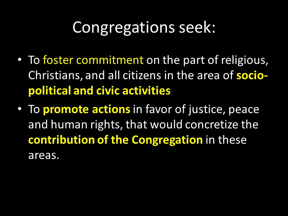 Congregations seek: To foster commitment on the part of religious, Christians, and all citizens in the area of socio-political and civic activities.