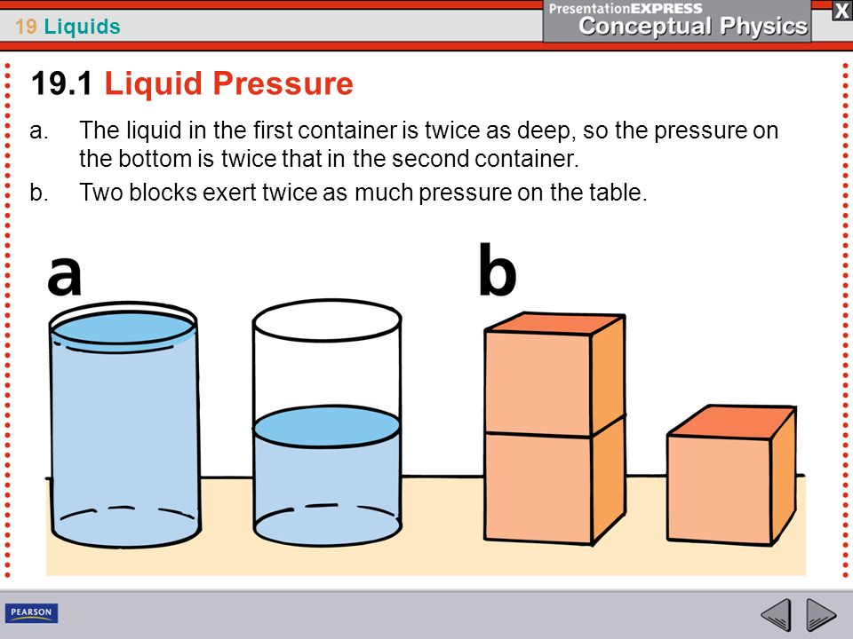 19.1 Liquid PressureThe liquid in the first container is twice as deep, so the pressure on the bottom is twice that in the second container.