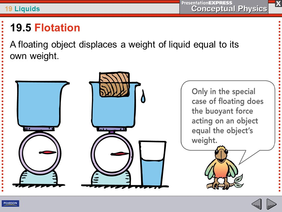 19.5 Flotation A floating object displaces a weight of liquid equal to its own weight.