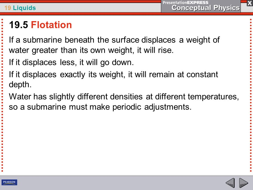 19.5 FlotationIf a submarine beneath the surface displaces a weight of water greater than its own weight, it will rise.