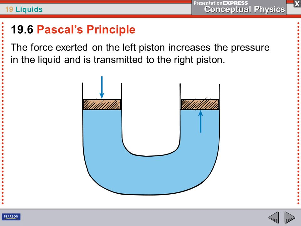 19.6 Pascal's PrincipleThe force exerted on the left piston increases the pressure in the liquid and is transmitted to the right piston.