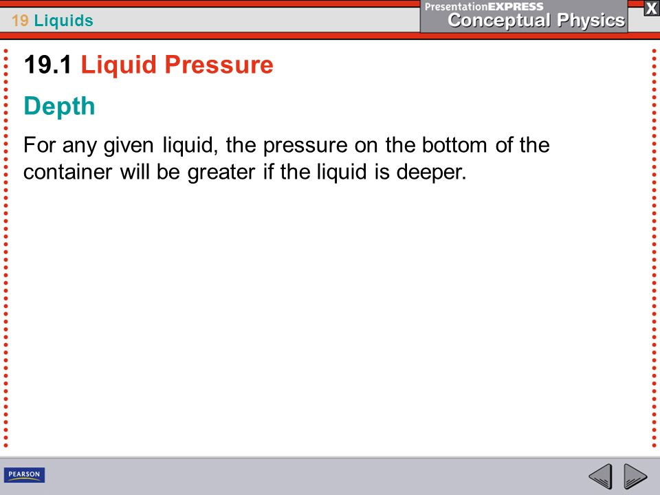 19.1 Liquid Pressure Depth.
