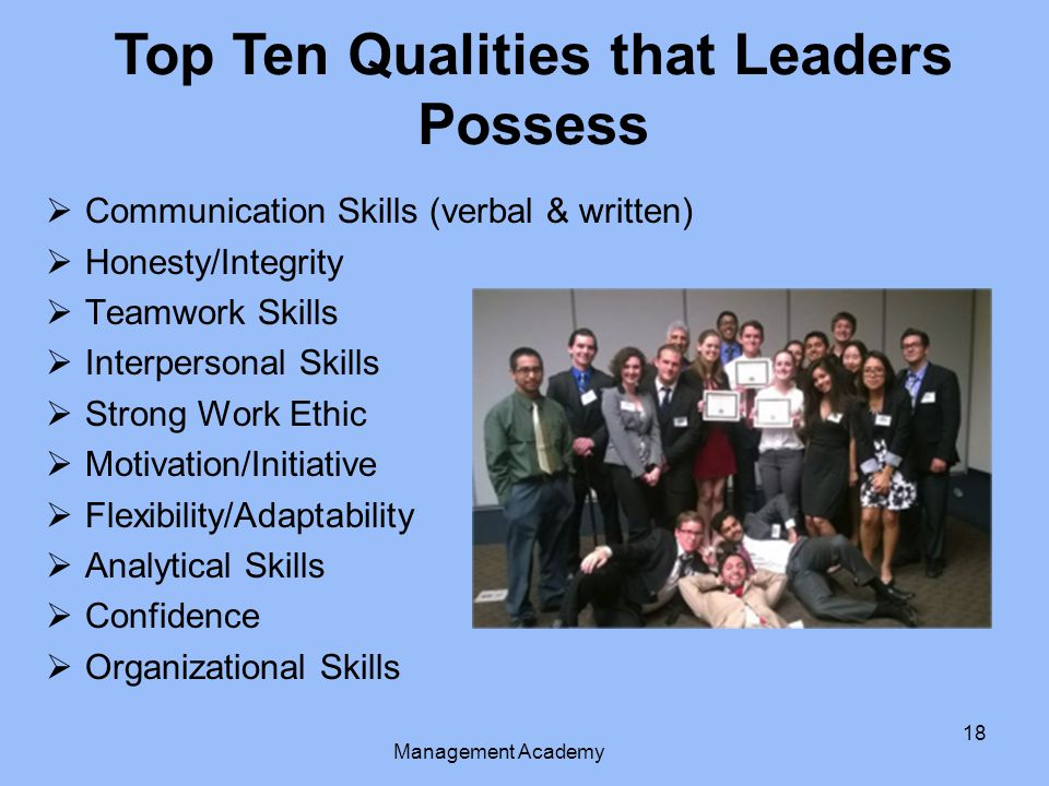 Top Ten Qualities that Leaders Possess