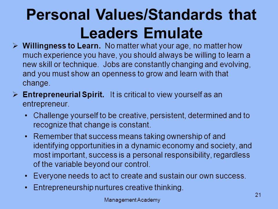 Personal Values/Standards that Leaders Emulate