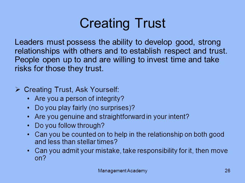 Creating Trust