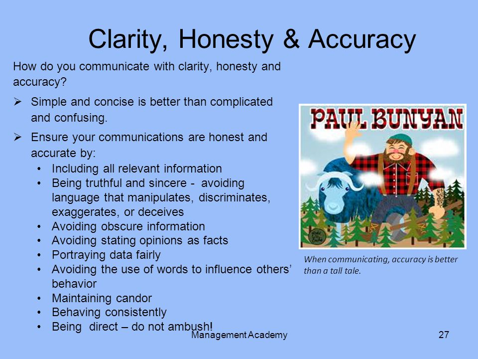 Clarity, Honesty & Accuracy