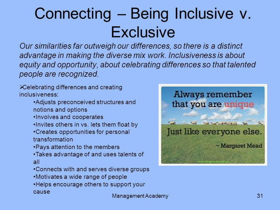 Connecting – Being Inclusive v. Exclusive