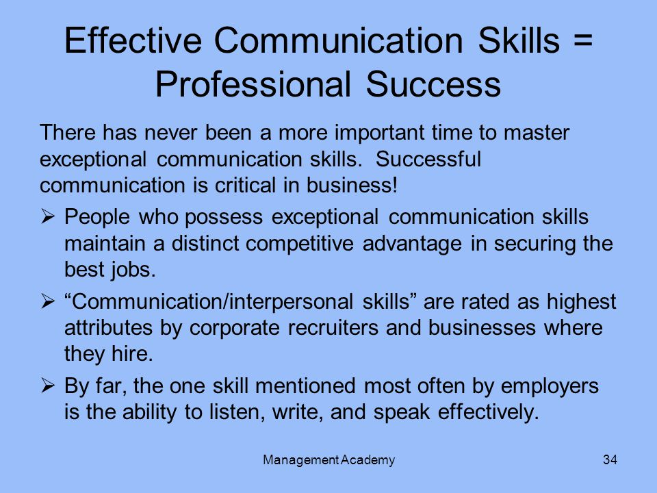 Effective Communication Skills = Professional Success