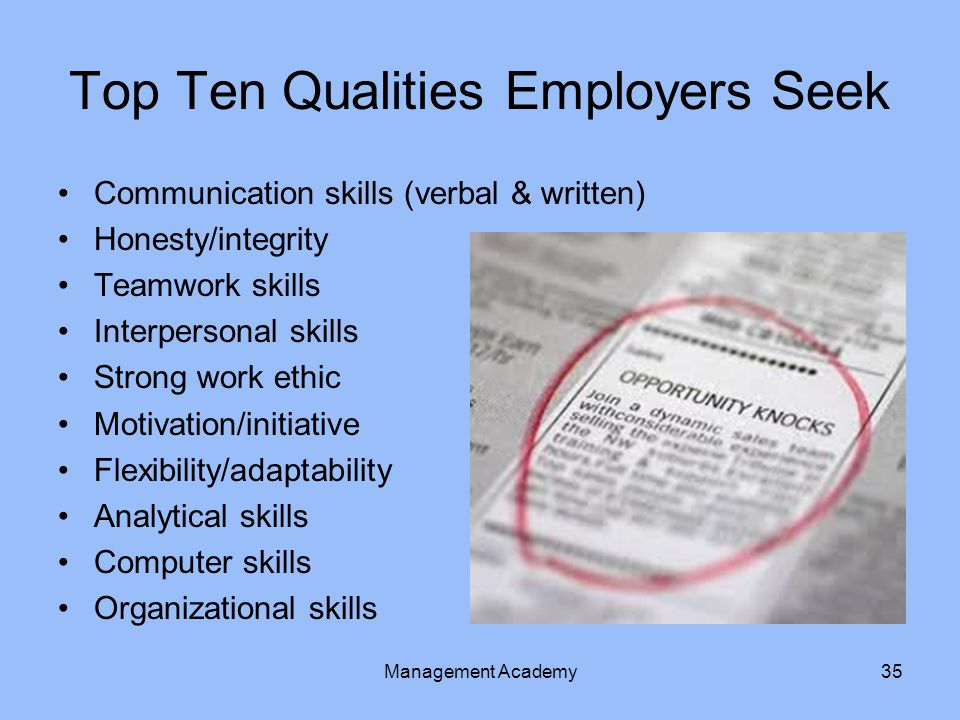 Top Ten Qualities Employers Seek