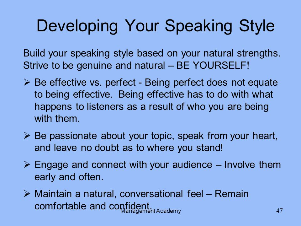 Developing Your Speaking Style