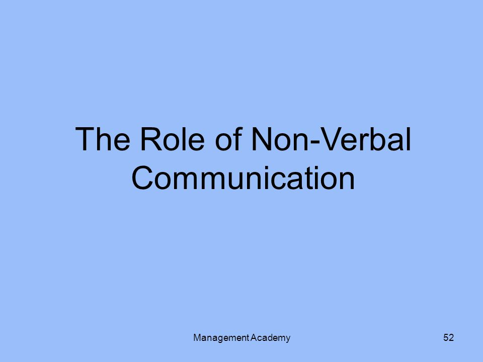 The Role of Non-Verbal Communication