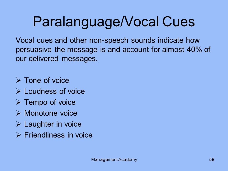 Paralanguage/Vocal Cues
