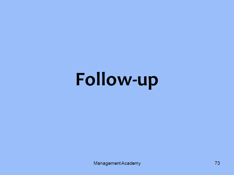 Follow-up Management Academy