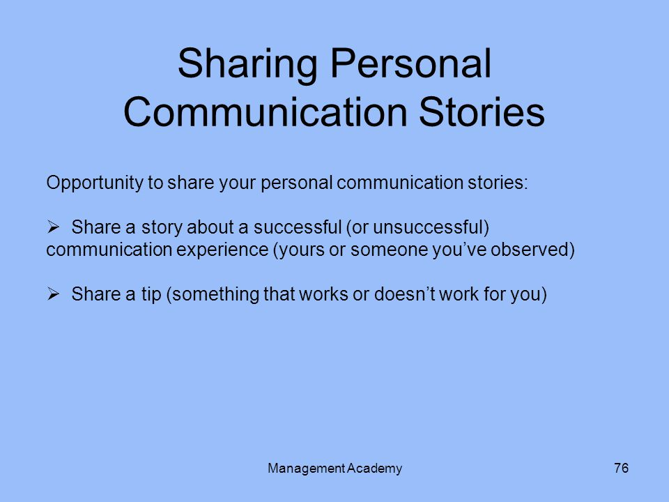 Sharing Personal Communication Stories