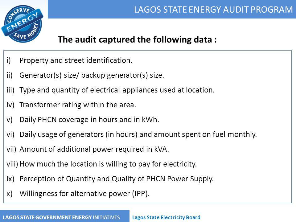 LAGOS STATE ENERGY AUDIT PROGRAM