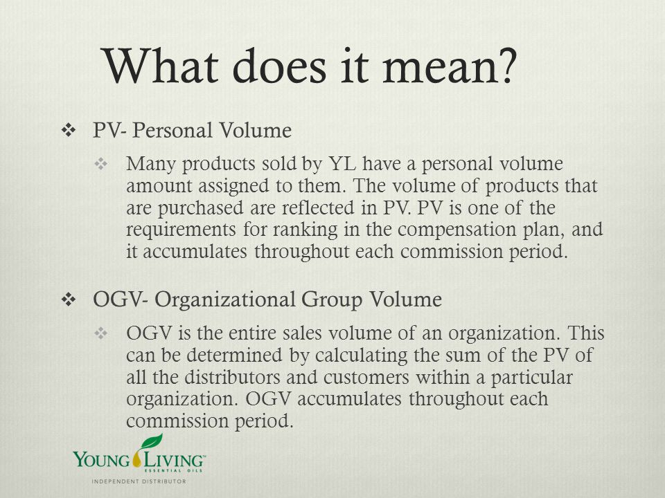 What does it mean PV- Personal Volume