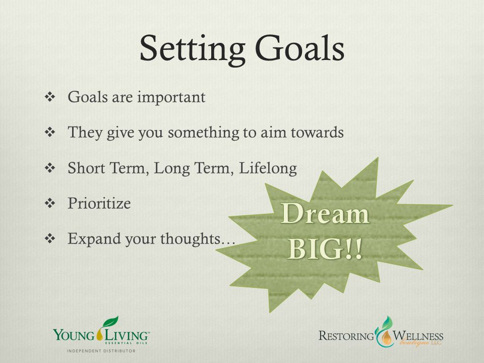 Setting Goals Dream BIG!! Goals are important