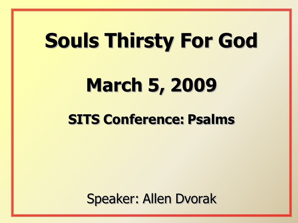 SITS Conference: Psalms
