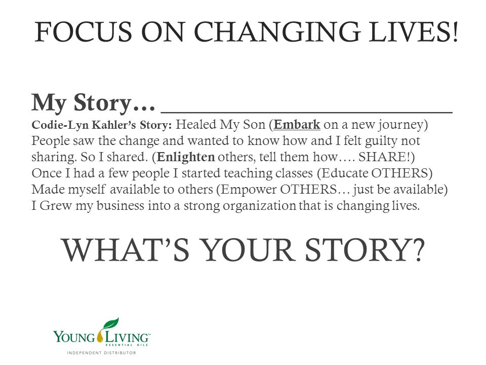 FOCUS ON CHANGING LIVES!