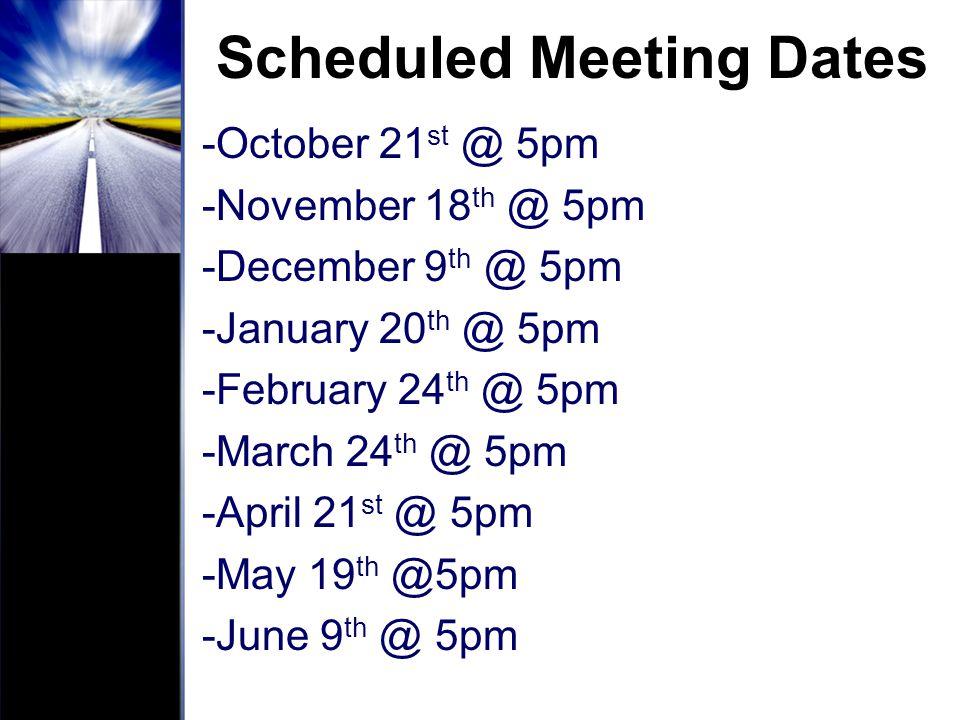 Scheduled Meeting Dates