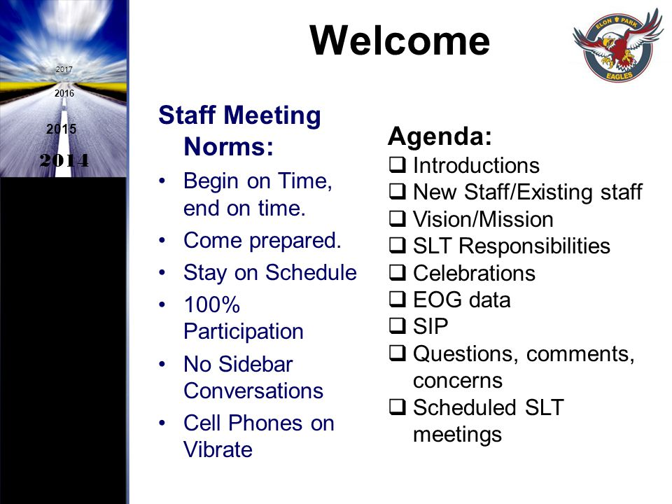 Welcome Staff Meeting Norms: Agenda: Begin on Time, end on time.