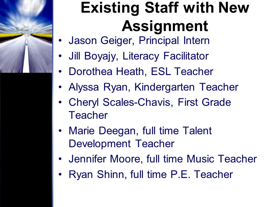 Existing Staff with New Assignment
