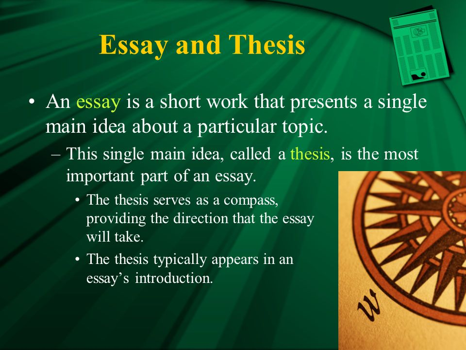 Essay and Thesis An essay is a short work that presents a single main idea about a particular topic.