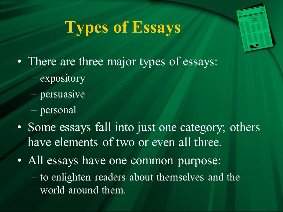 4 basic types of essays 1-16 of over 1,000 results for types of essays showing most relevant results basic essay writing: how to write different types of essays apr 7, 2013.