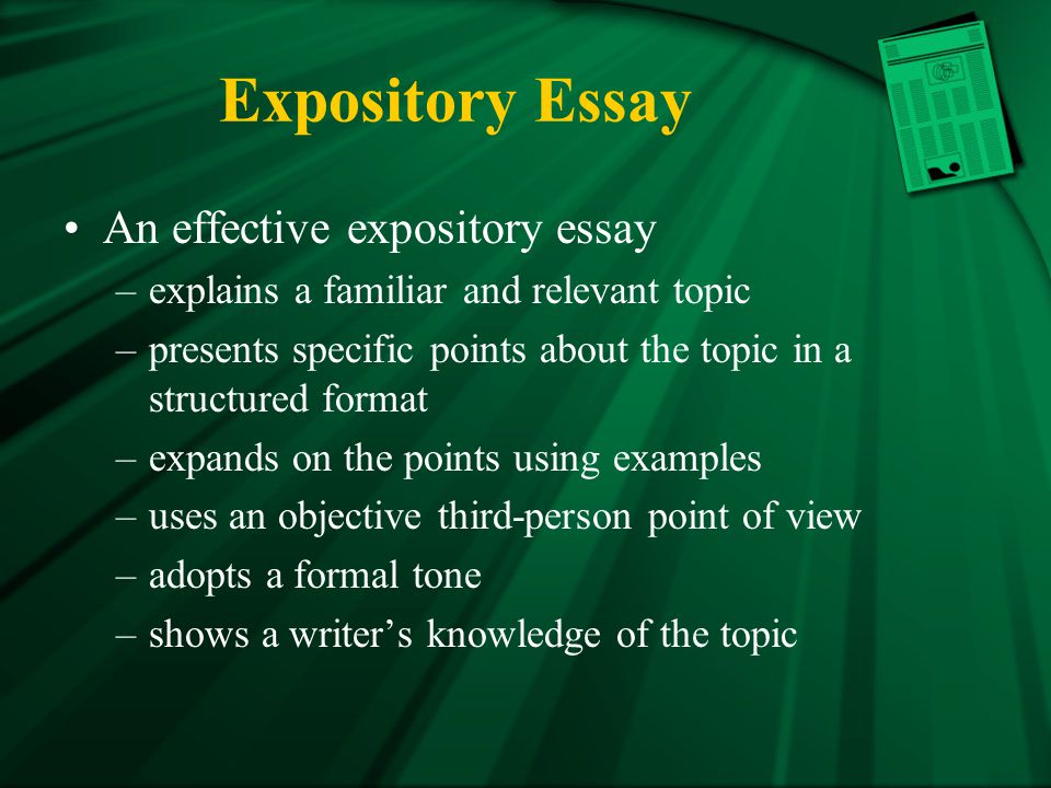 Expository Essay An effective expository essay
