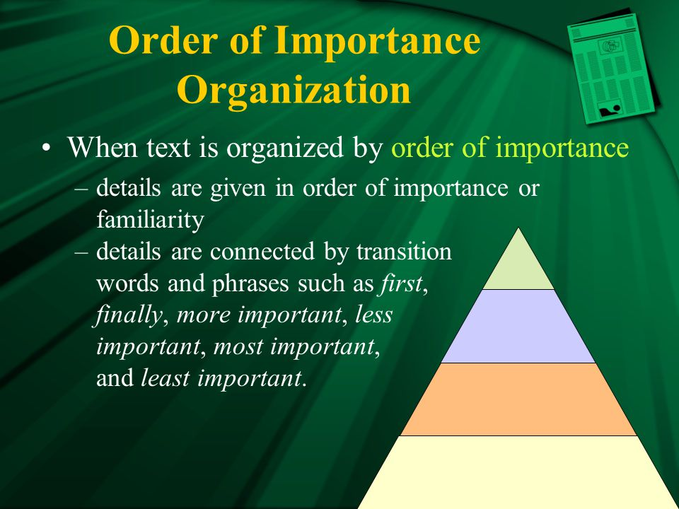 Order of importance in essays