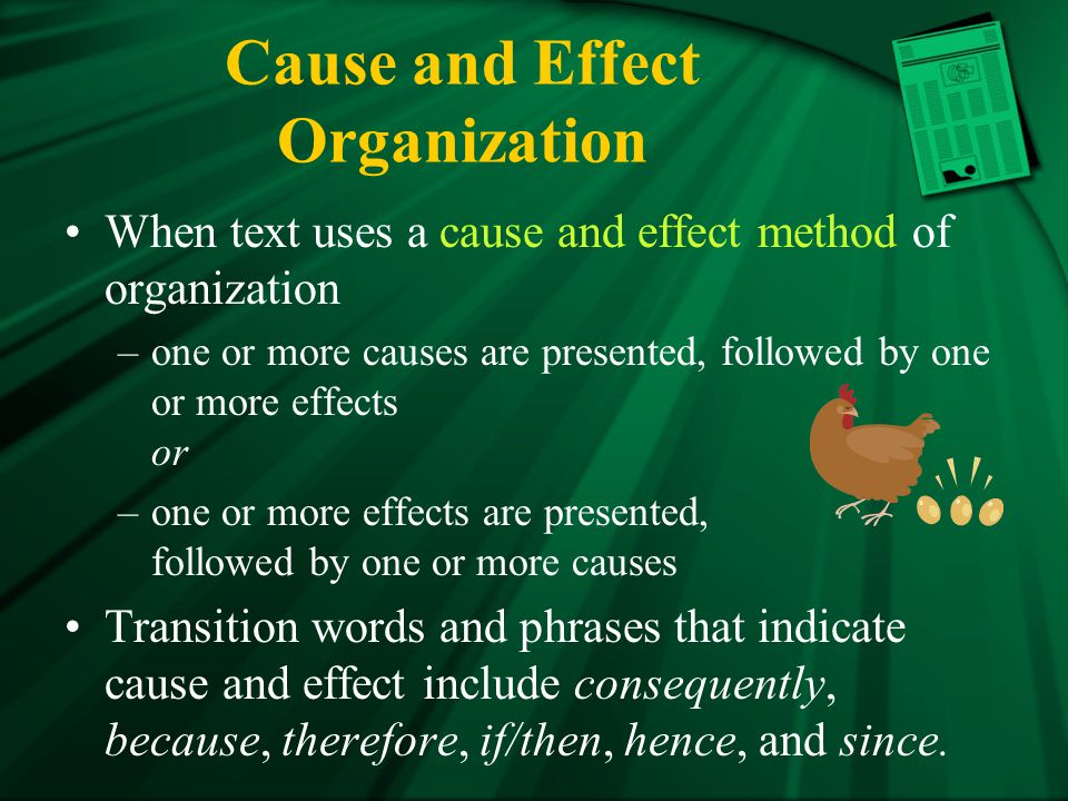 Cause and Effect Organization
