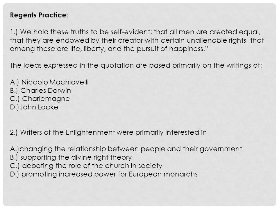 Regents Practice: