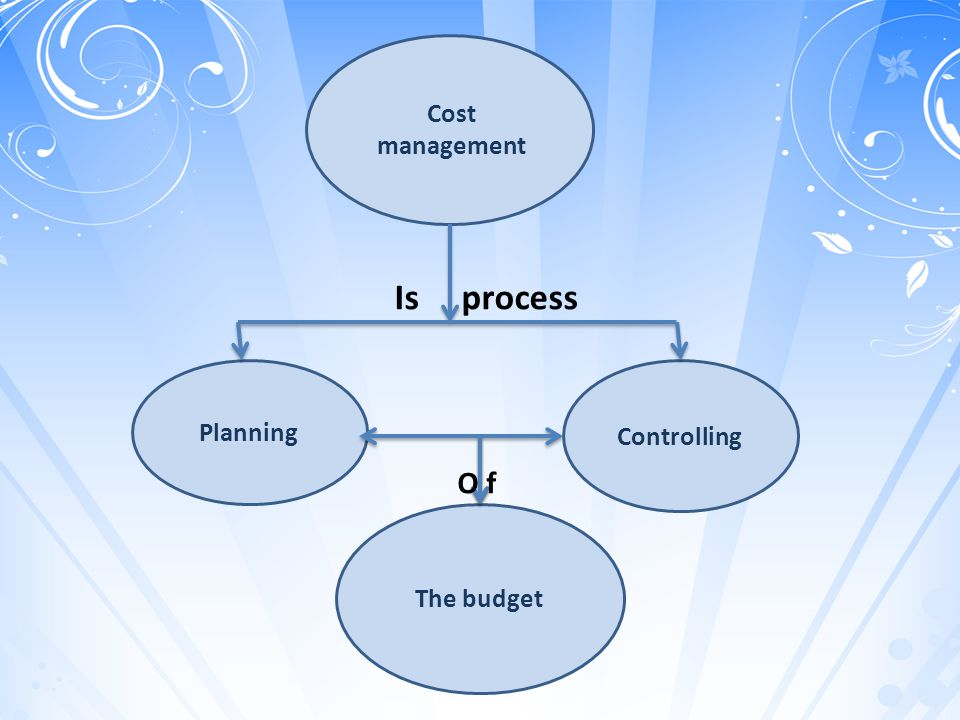 Cost management The budget Planning Controlling O f Is process