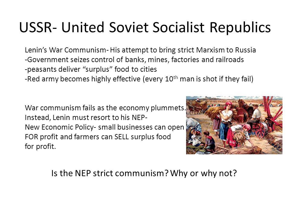USSR- United Soviet Socialist Republics