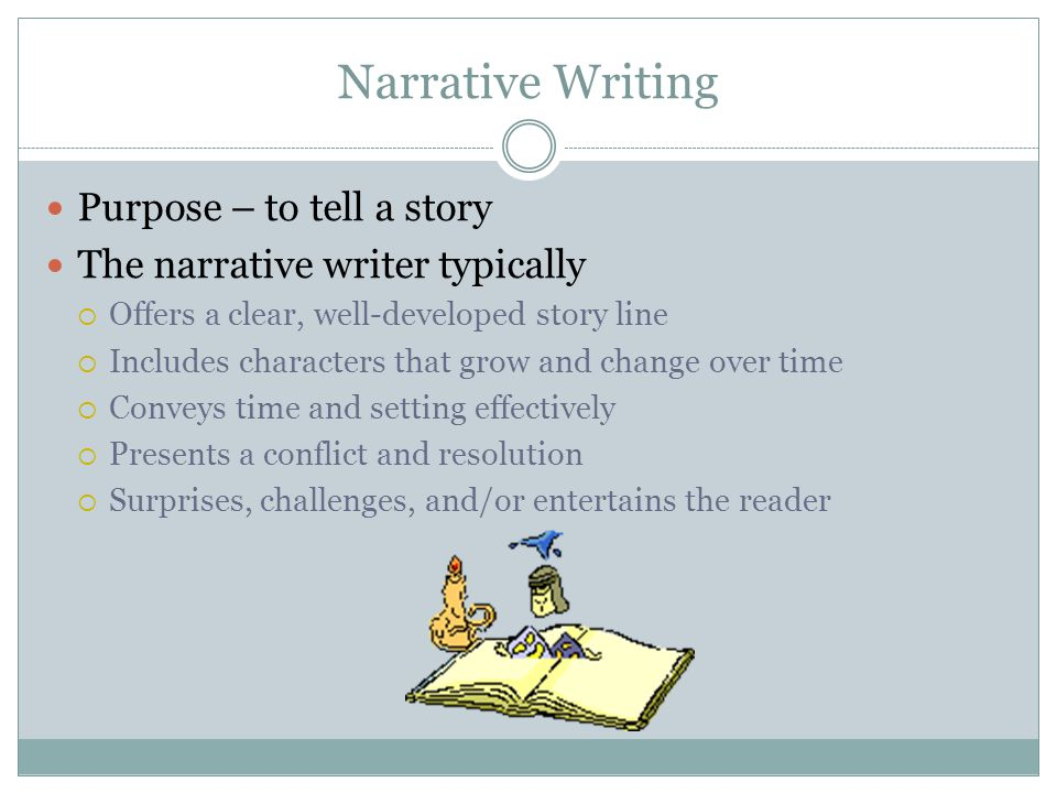 Narrative Writing Purpose – to tell a story