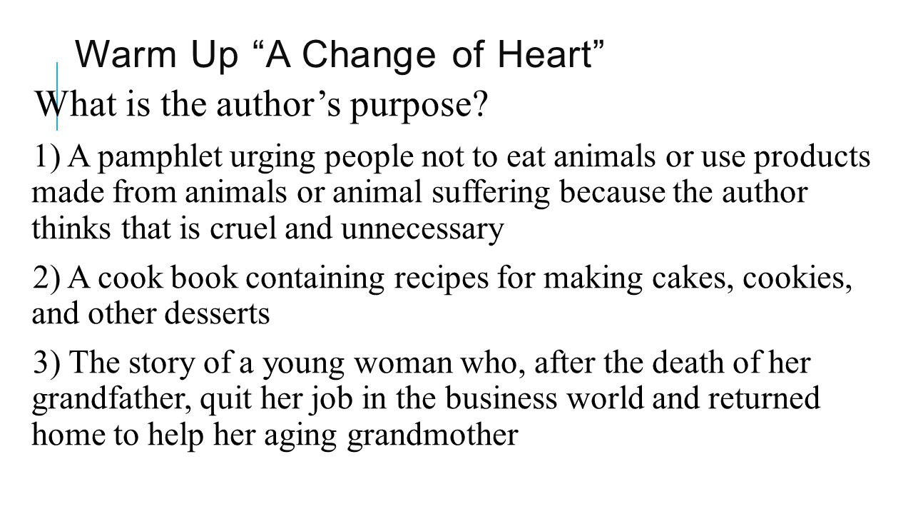 Warm Up A Change of Heart
