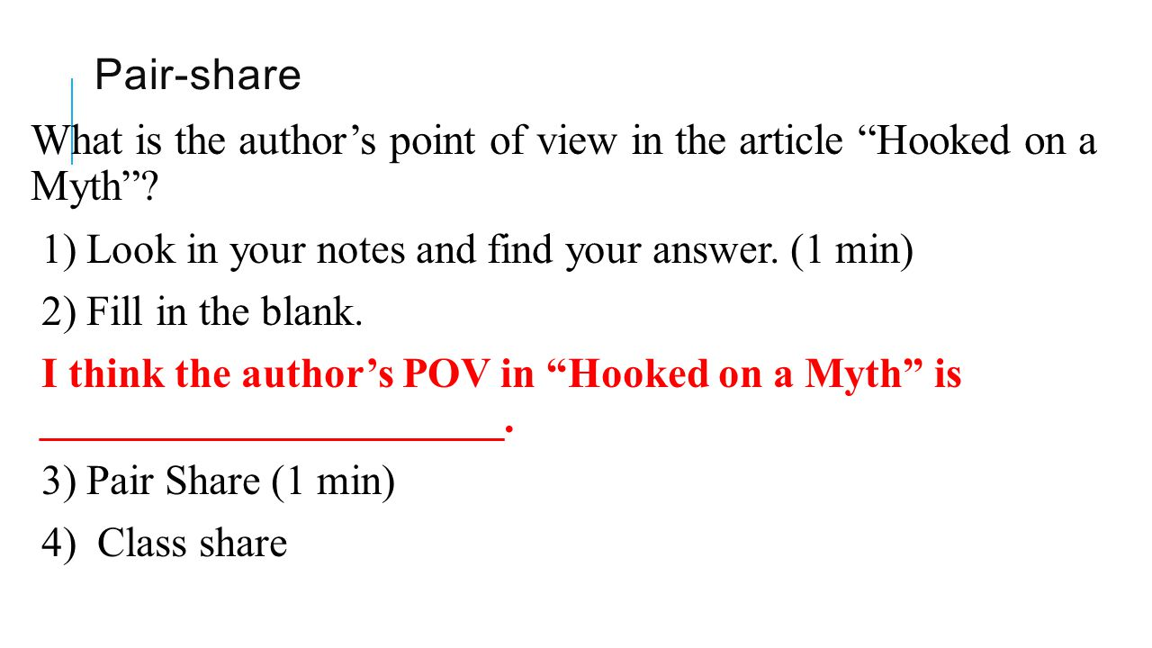 What is the author's point of view in the article Hooked on a Myth
