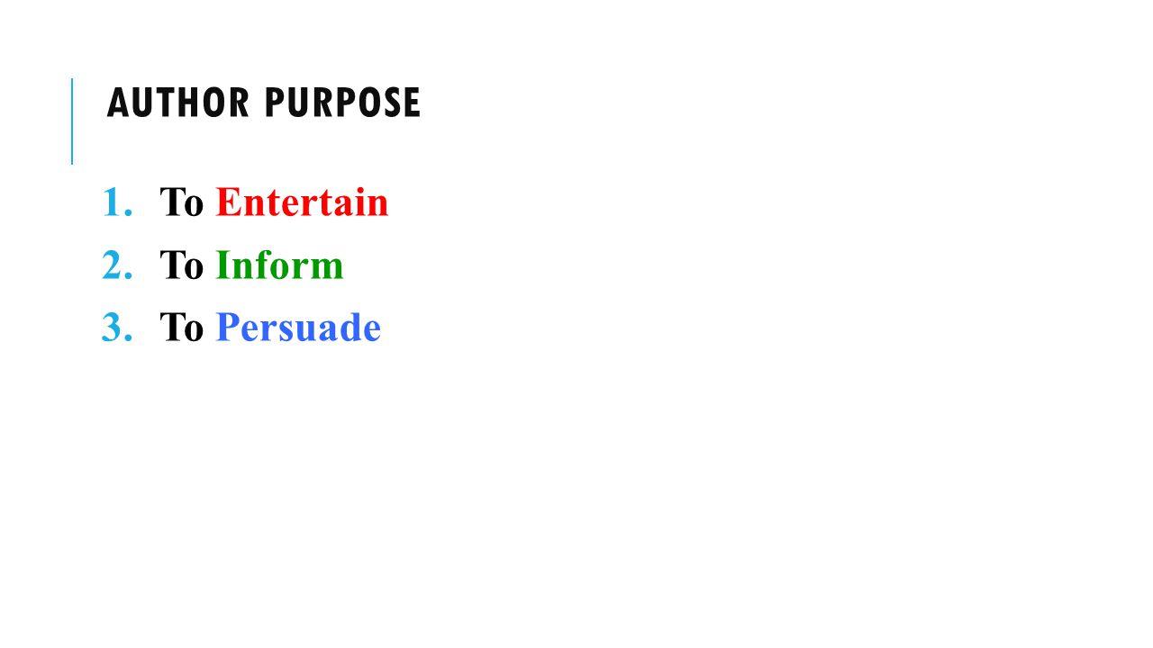 author Purpose To Entertain To Inform To Persuade