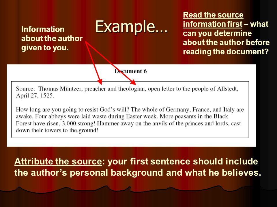 Example… Read the source information first – what can you determine about the author before reading the document