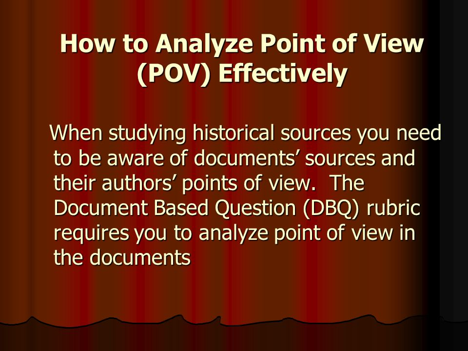 How to Analyze Point of View (POV) Effectively