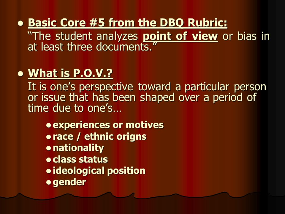 Basic Core #5 from the DBQ Rubric: