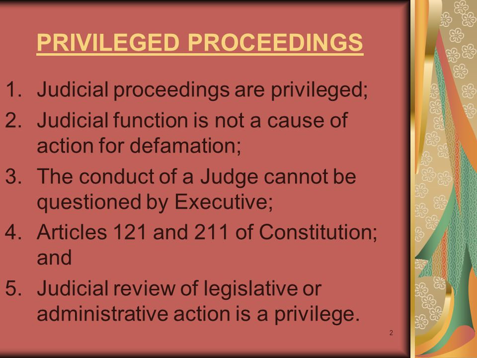 PRIVILEGED PROCEEDINGS