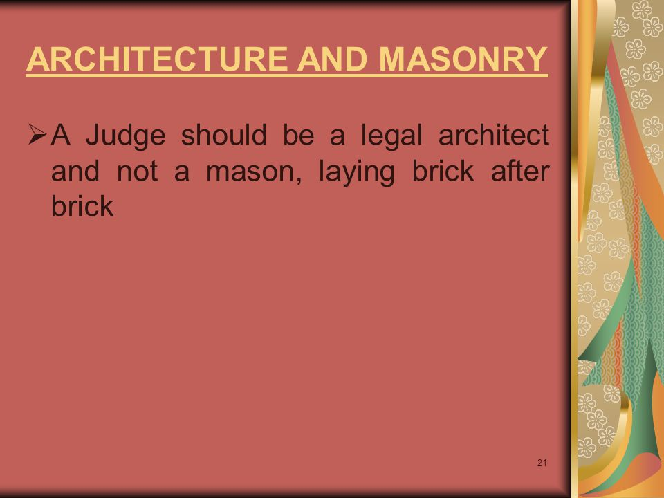 ARCHITECTURE AND MASONRY