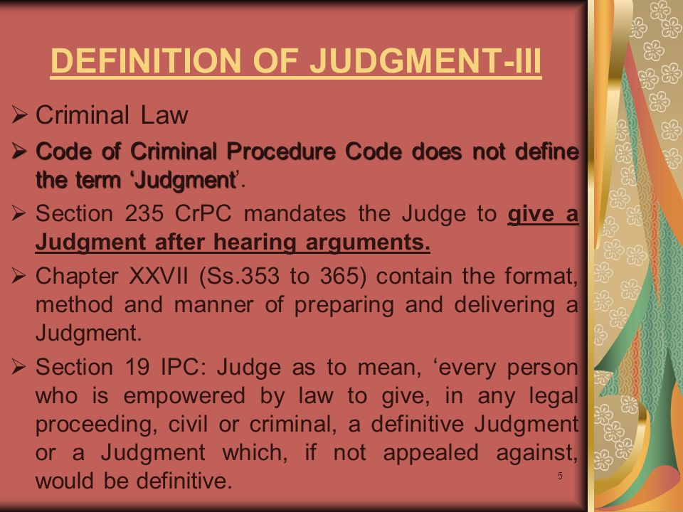 DEFINITION OF JUDGMENT-III