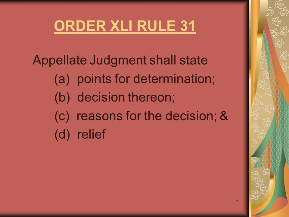 ORDER XLI RULE 31 Appellate Judgment shall state